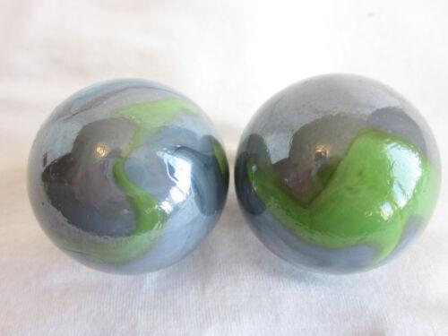 2 BOULDERS 35mm THUNDERBOLT Marbles glass ball Green//Blue//Grey Giant LARGE Swirl