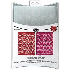 Sizzix Textured Impressions Embossing Folders Flower Vine & Twizzle Set  656799