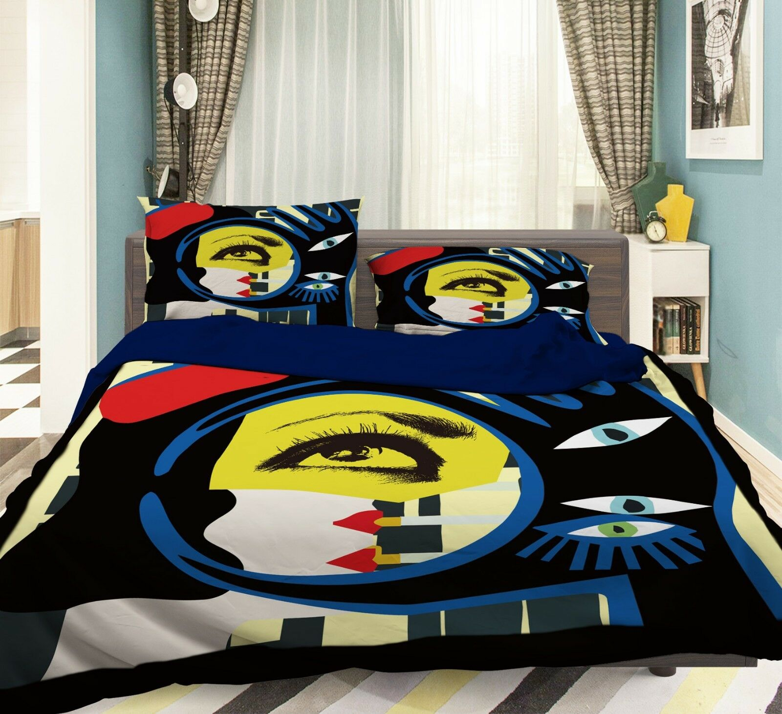 3D Graffiti Eyes 6 Bed Pillowcases Quilt Duvet Cover Set Single Queen AU Carly