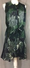 EDUN 100% silk layers tunic top dress black green gray tie buttons sleeveless XS