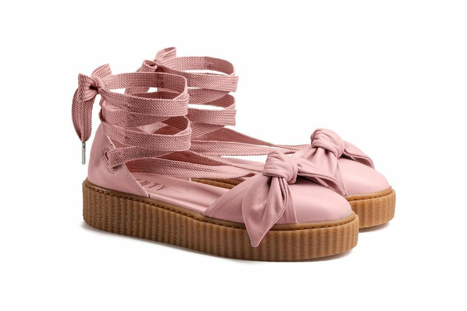 New Fenty Puma by Rihanna Bow Creeper Sandal Womens Size 9.5 Leather Pink