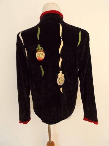 di Natale Nero Lisa Sz Maglione M Rosso Nichols Ornaments Cardigan Ciniglia qw0pxH60B