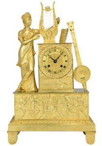PENDULE-MUSIQUE-Kaminuhr-Empire-clock-bronze-horloge-antique-uhren-cartel