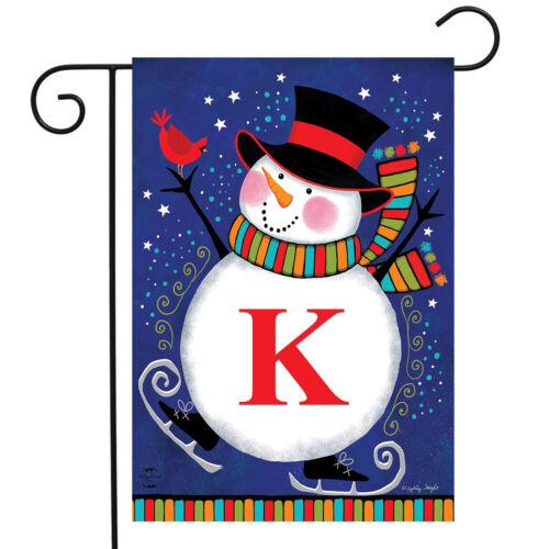 """Winter Snowman Monogram Letter K Garden Flag Briarwood Lane 12.5/"""" x 18/"""""""