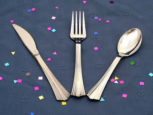 600 EACH KNIVES REFLECTIONS SILVER LOOK PLASTIC CUTLERY SPOONS FORKS