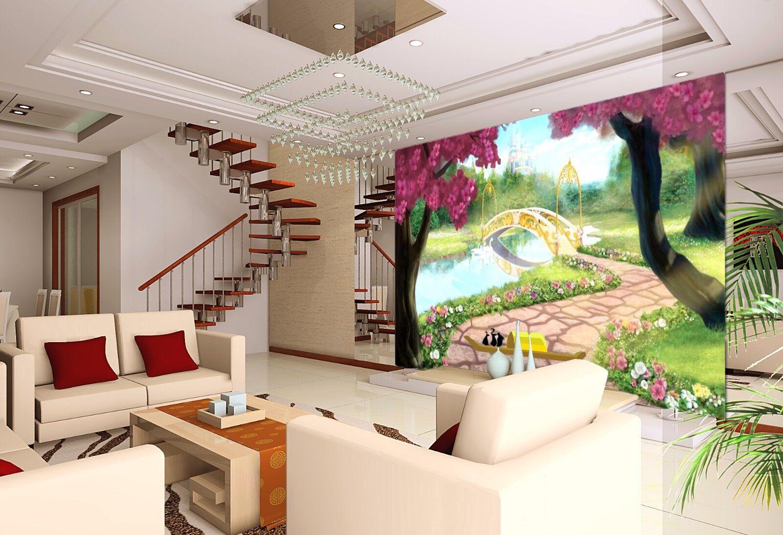 3D Tree Lawn Bridge 833 Wallpaper Mural Paper Wall Print Wallpaper Murals UK