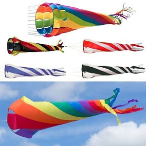 Windturbine-60-220cm-Rainbow-Windsack-Windsocke-Windspiel-Leinenschmuck-Turbine
