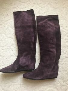 Details about New Vero Cuoio Suede Purple Knee High Flat Heel Boots Size 42, US 12