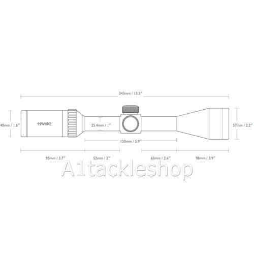 Hawke Fast Mount  4-16x50 AO  Illuminated Telescopic Air Rifle Scope Sight 11460