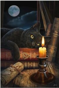 Lisa-Parker-The-Witching-Hour-POSTER-61x91cm-NEW-black-cat-staring-candlelight