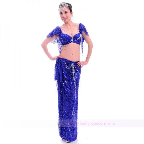 New Women Belly Dance Costume 2 Pcs set of Bra/&Skirt 34B//C 36B//C 38B//C 10 colors