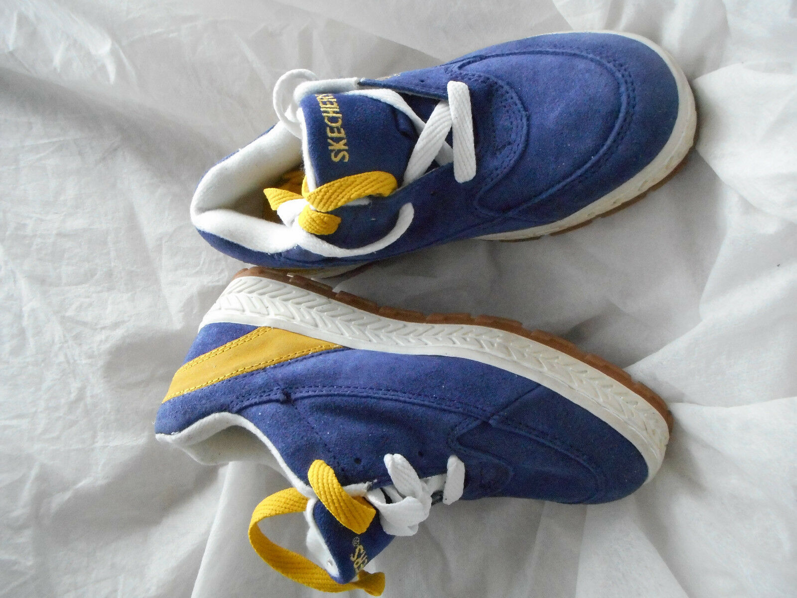 VINTAGE Suede SKECHERS Navy bluee YELLOW Lace Lace Lace Platform Loafer Trainers Sneakers 3 35ce3b