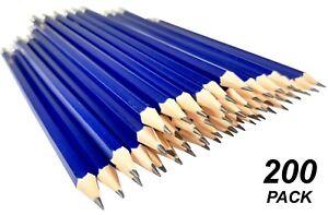 Bulk 200 Pack HB Lead Pencils with Erasers Blue Plastic Barrel Durable