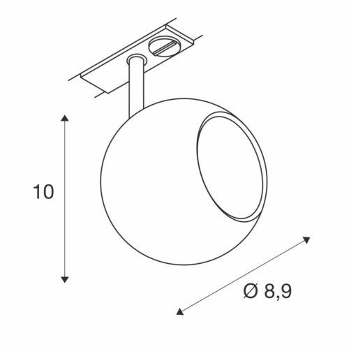weiss// chrom max 1 Phasen-Adapter inkl LIGHT EYE Spot GU10 50W GU10