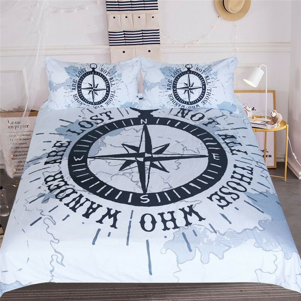 Compass Bedding Set Nautical Map Duvet Cover Blau And Weiß Bedclothes Gift