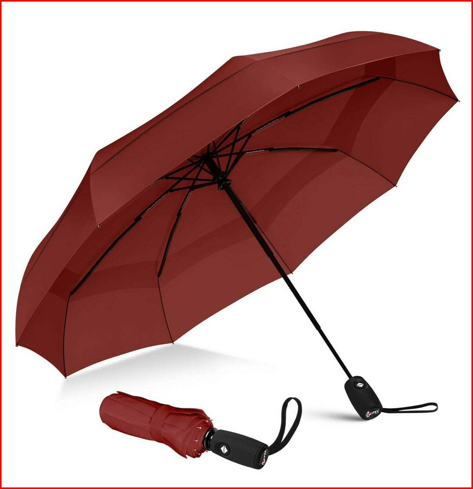 Repel Umbrella Windproof Double Vented Travel Umbrella with Teflon Coating Red