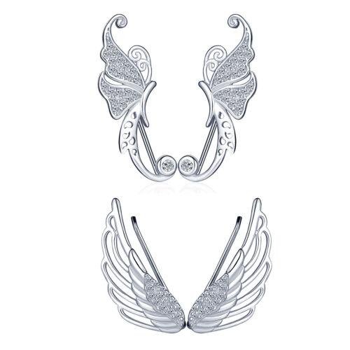 Butterfly Angel Wing Crawler grimpeur 925 Argent Sterling Femme Bijou D/'oreille Boucles d/'oreilles
