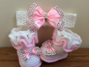 Crochet headband.0-3months Hand knitted Romany Bling baby girls booties