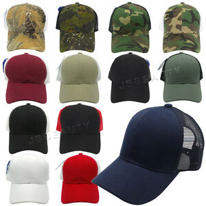 Trucker Mesh Back Baseball Caps Plain Camo Adjustable Blank Snapback ... 6531abc2e47d