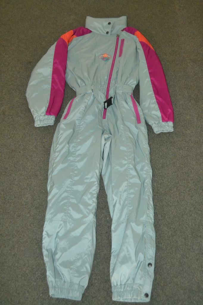 VTG 90'S Grün & lila LE JOUR Weiß ZIP UP FULL SKI SUIT SNOW SUIT damen 40