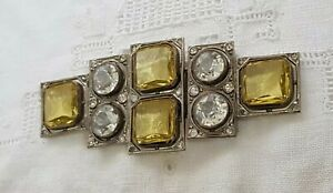Rare-Antique-Art-Deco-Uranium-Glass-Clear-Paste-Geometric-Vintage-Clasp-Buckle
