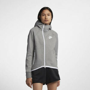 Nike 930758-063 Women Tech Fleece hoodie Track top jacket grey white ... e9f788a26