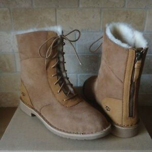 4370a5dc888 Details about UGG Daney Chestnut Suede Sheepskin Lace up Zip Short Boots  Size US 10 Womens