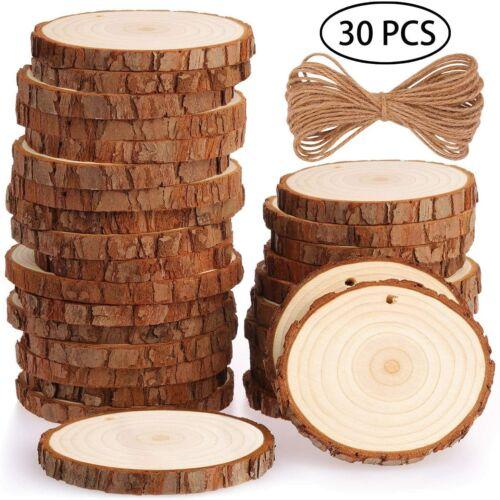 Discos de madera 30 trozos de madera log discos 7-8cm con agujero inconclusa holzkrei