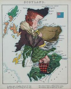 Scottish-Map-Scotland-Scots-Antique-Old-Colour-Reproduction-Map-from-Fun-Atlas