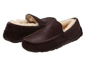 b75afaa1502 MEN UGG AUSTRALIA SLIPPER ASCOT CHINA TEA LEATHER BROWN 5379 ORG ...