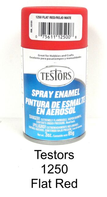 Testors 3oz Spray Paint 1250 Enamel Flat Red Ebay