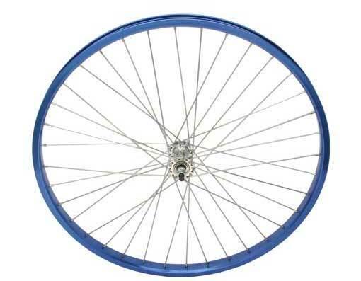 26  x 2.125  Alloy FRONT  Wheel blueeeeeeeeE .BEACH CRUISER , CHOPPER WHEEL 294218