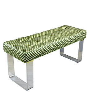 Good Infinity Style Green Brocade & Lucite Bench Lucite Benches Linen Benches