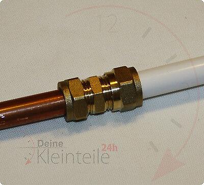 Messing Verschraubung Übergang PEX Verbindung Fittings Kupfer Klemmring Cu Rohr