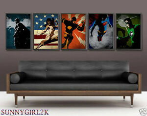 5 Justice League 2015 Modern Home Decor Art Canvas Oil Painting No Frame Ebay
