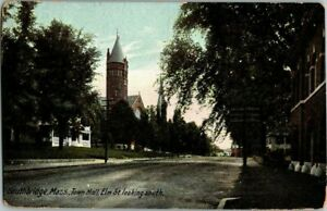 1911-SOUTHBRIDGE-MASS-TOWN-HALL-ELM-ST-LOOKING-SOUTH-POSTCARD-KK2