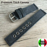 20 22mm Marco Pallini Military Black Thick Canvas Strap Silver Buckle - Us