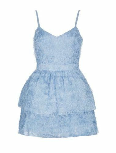 Dress Topshop con 10 Prom Feather cinturini Boutique Taglia Little Blue Bnwt dUwq1HHY