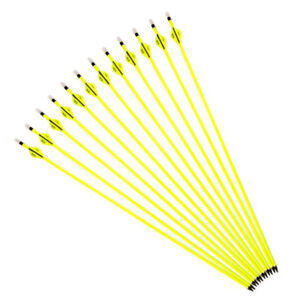 6-12-24PCS-30-034-Archery-Carbon-Arrows-SP500-Yellow-F-Compound-Recurve-Bow-Hunting