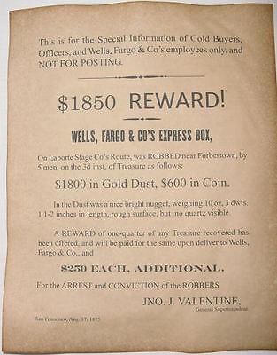 Wells wanted western old west /& Co.Cottonwood Robbery Reward Poster Fargo
