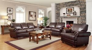Traditional Brown Bonded Leather Sofa Loveseat Amp Chair 3