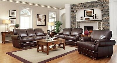 appealing traditional leather living room set | Traditional Brown Bonded Leather Sofa Loveseat & Chair 3 ...