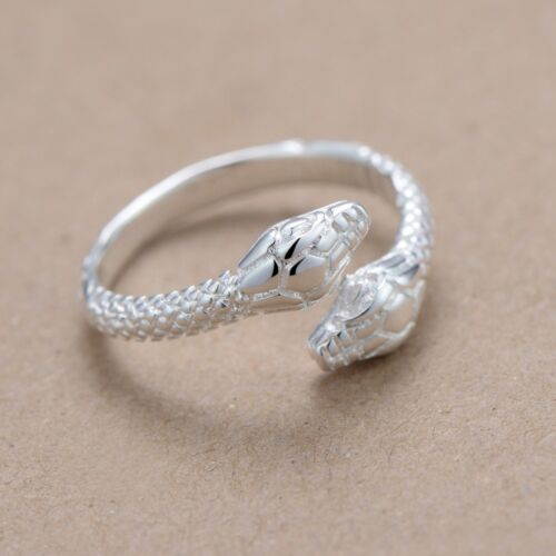 Adjustable UK Jewellery Gift NEW Deluxe Silver Snake Ring in FREE Gift Bag//Box