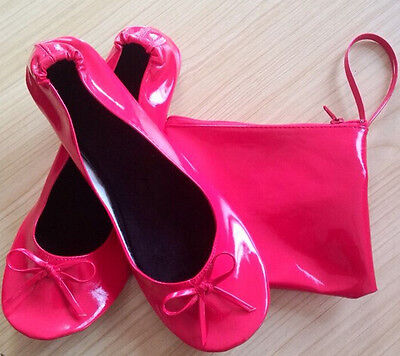 HOT PINK ROLL UP FOLD PUMPS FLATS  AFTER PARTY SHOES POCKET FREE BAG FOLDABLE