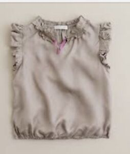 J-Crew-Crewcuts-Shirt-Bubble-Top-Blouse-100-Silk-Taupe-Brown-5-Girls