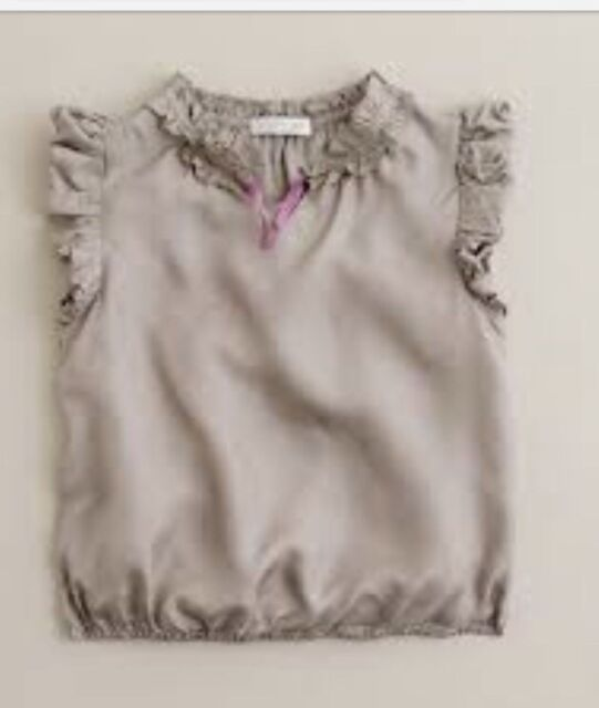 J Crew Crewcuts Shirt Bubble Top Blouse  100% Silk Taupe Brown 5 Girls
