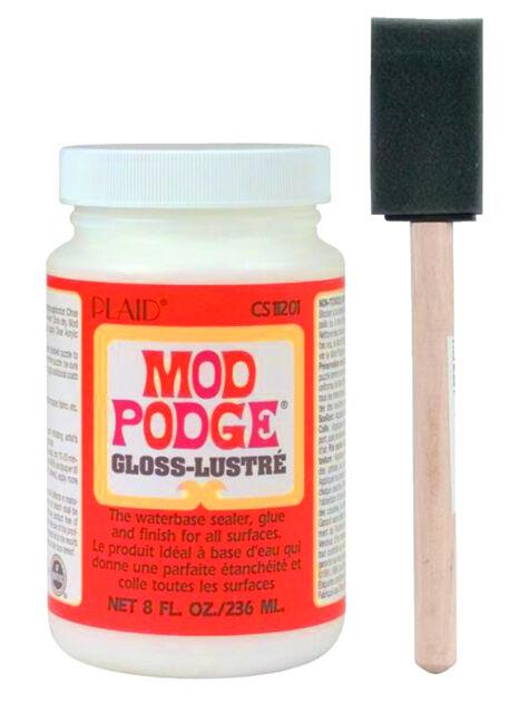 "Mod Podge Gloss Finish 8oz waterbase sealer, glue & finish + 1"" foam brush"