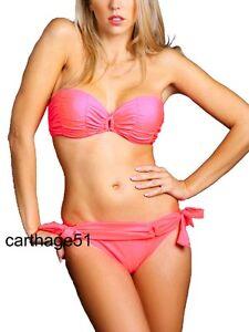Orange Corail fluo T L 40 Maillot de bain femme bikini Push Up /& armatures