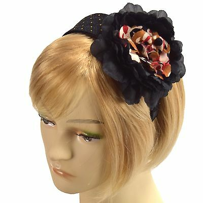 Fascinator Black Sparkle Camo Headband Silk /& Satin Hairband Grace Of New York