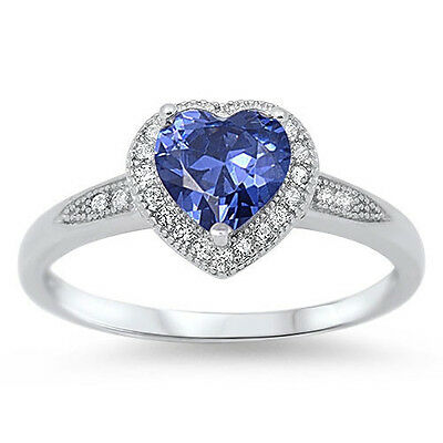 Halo Style Heart Cut Tanzanite Promise Solitaire Ring .925 Sterling Size 4-12